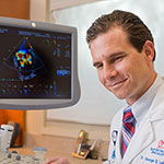 Cardiologist George Le-Bert, DO, uses high-tech echocardiography to uncover tumors inset photo
